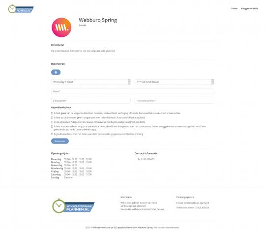 Webburo Spring Winkel Afspraak Plannen